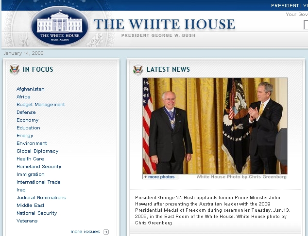 Screenshot of whitehouse.gov (2008-01-15)